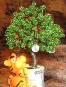 декор деревца с игрушкой